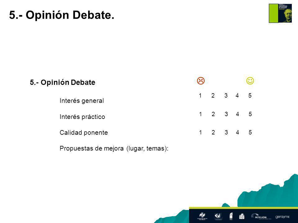 5.- Opinión Debate Interés general Interés práctico Calidad ponente Propuestas de mejora (lugar, temas): 5.- Opinión Debate.