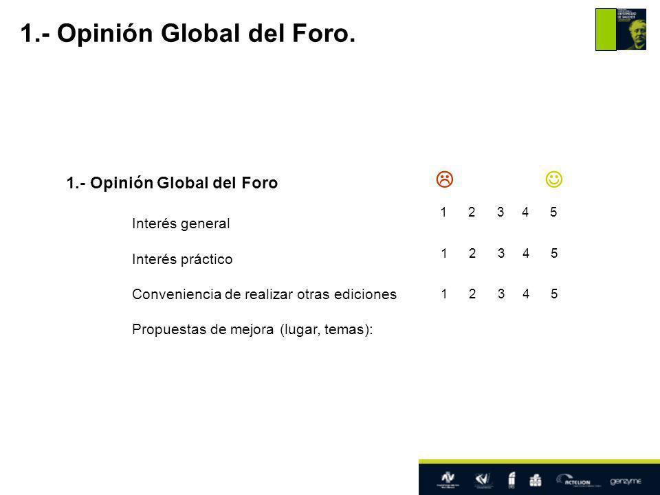 1.- Opinión Global del Foro Interés general Interés práctico Conveniencia de realizar otras ediciones Propuestas de mejora (lugar, temas): 1.- Opinión Global del Foro.