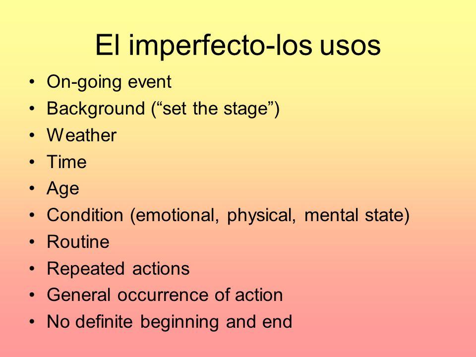 Imperfecto- Palabras claves A veces Siempre Todos los días A menudo Cada día Mucho Generalmente Varias veces Con frecuencia Nunca Muchas veces