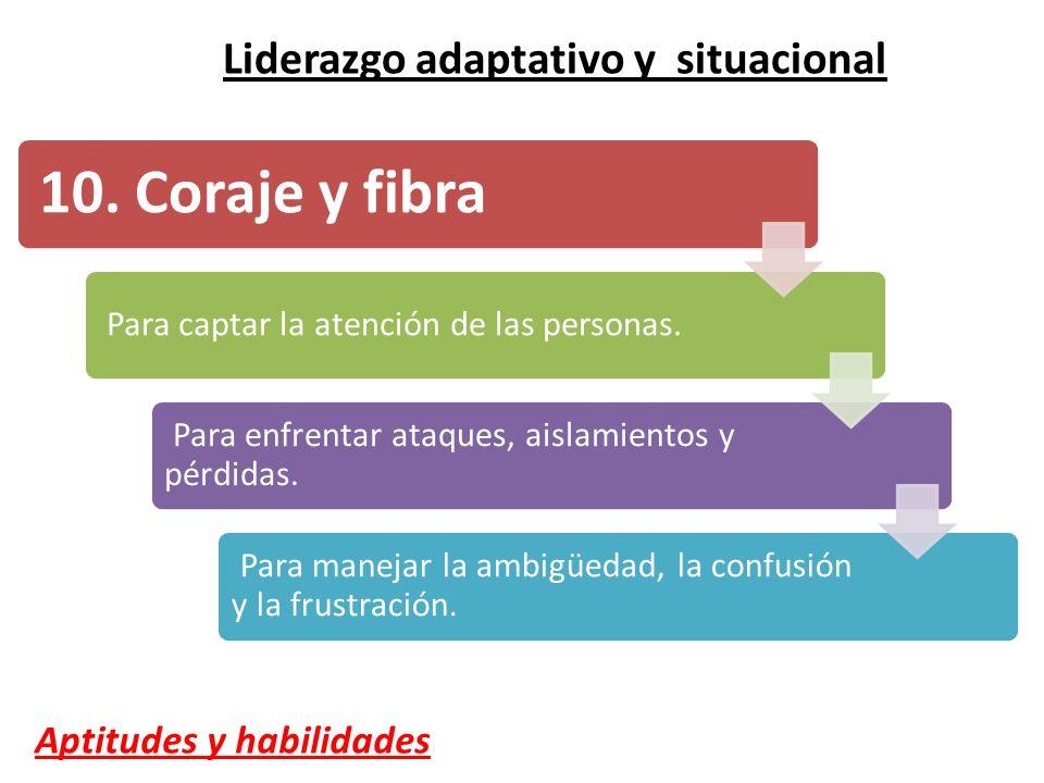 10. Coraje y fibra Para captar la atención de las personas. Para enfrentar ataques, aislamientos y pérdidas. Para manejar la ambigüedad, la confusión