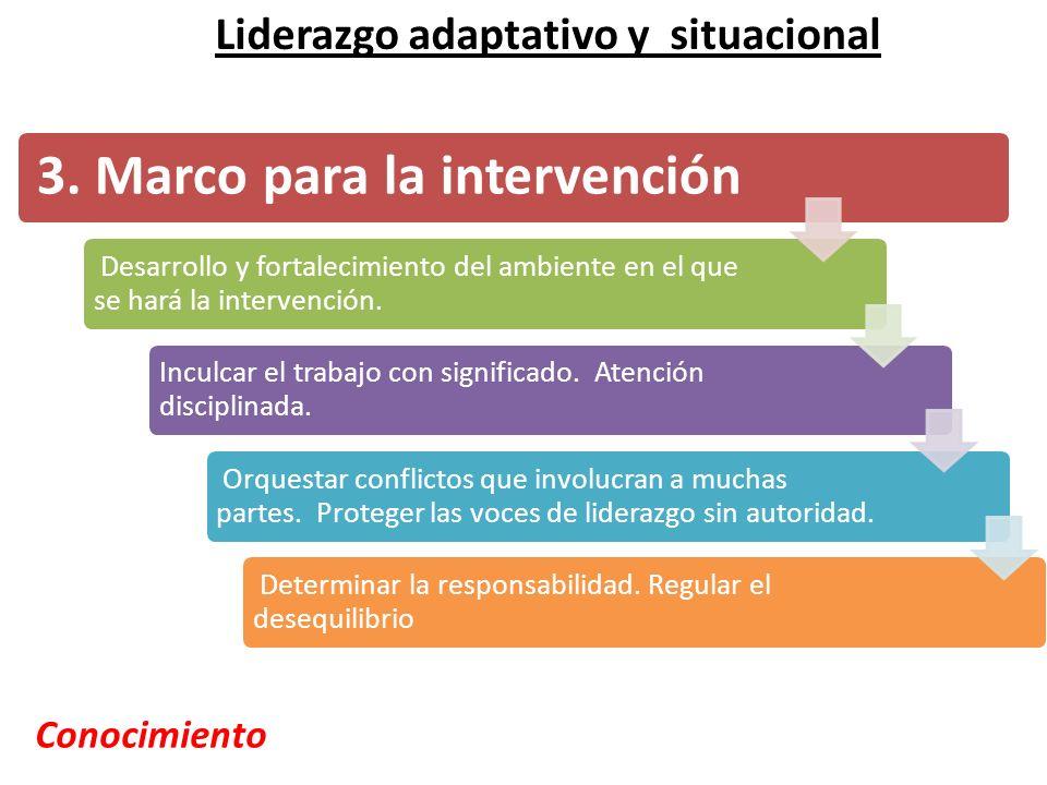3. Marco para la intervención Desarrollo y fortalecimiento del ambiente en el que se hará la intervención. Inculcar el trabajo con significado. Atenci