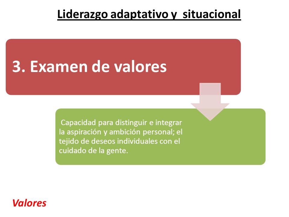 3. Examen de valores Capacidad para distinguir e integrar la aspiración y ambición personal; el tejido de deseos individuales con el cuidado de la gen