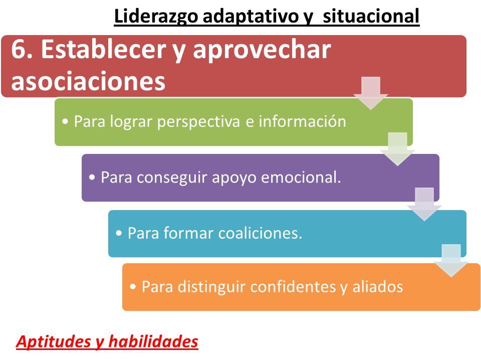 6. Establecer y aprovechar asociaciones Para lograr perspectiva e información Para conseguir apoyo emocional. Para formar coaliciones. Para distinguir