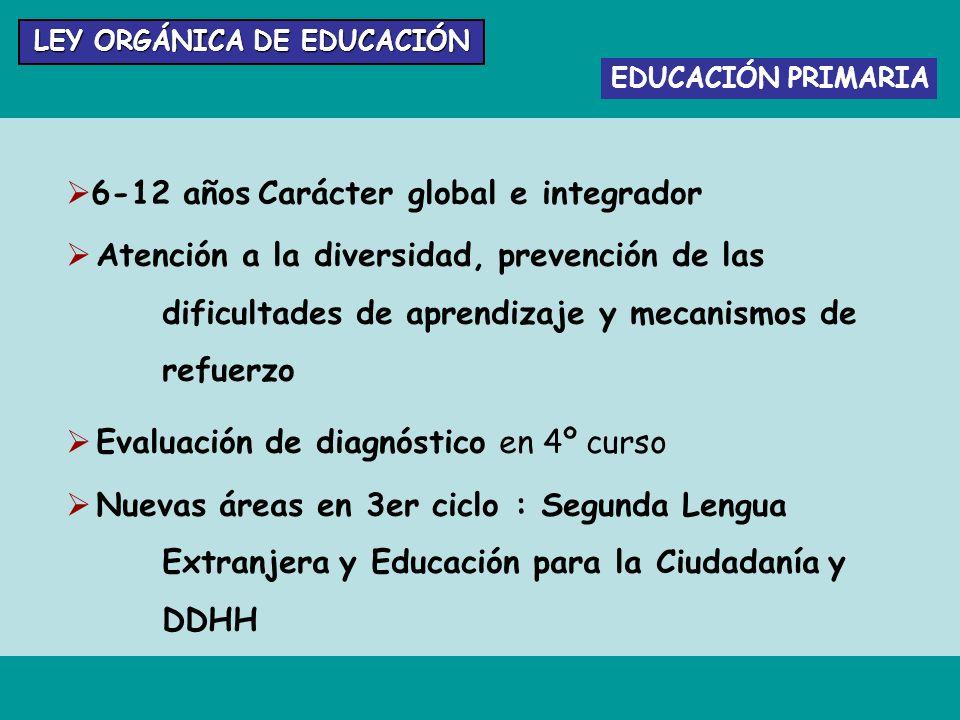 EDUCACIÓN PRIMARIA 6-12 años Carácter global e integrador Atención a la diversidad, prevención de las dificultades de aprendizaje y mecanismos de refu