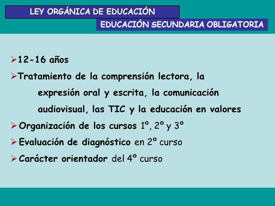 EDUCACIÓN SECUNDARIA OBLIGATORIA 12-16 años Tratamiento de la comprensión lectora, la expresión oral y escrita, la comunicación audiovisual, las TIC y