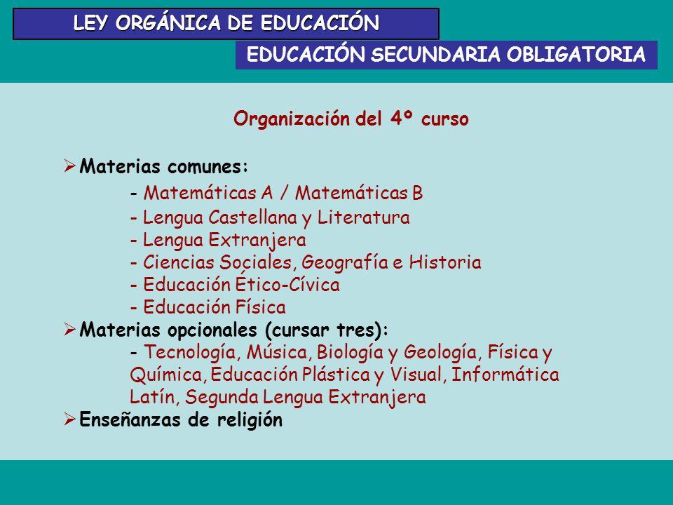 EDUCACIÓN SECUNDARIA OBLIGATORIA LEY ORGÁNICA DE EDUCACIÓN Organización del 4º curso Materias comunes: - Matemáticas A / Matemáticas B - Lengua Castel