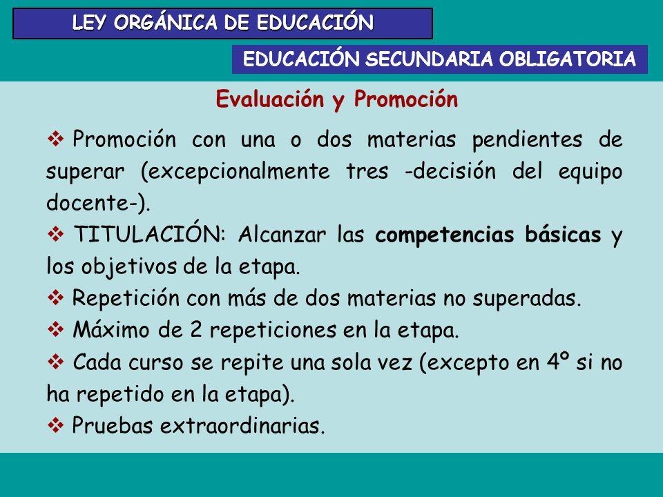 EDUCACIÓN SECUNDARIA OBLIGATORIA LEY ORGÁNICA DE EDUCACIÓN Evaluación y Promoción Promoción con una o dos materias pendientes de superar (excepcionalm
