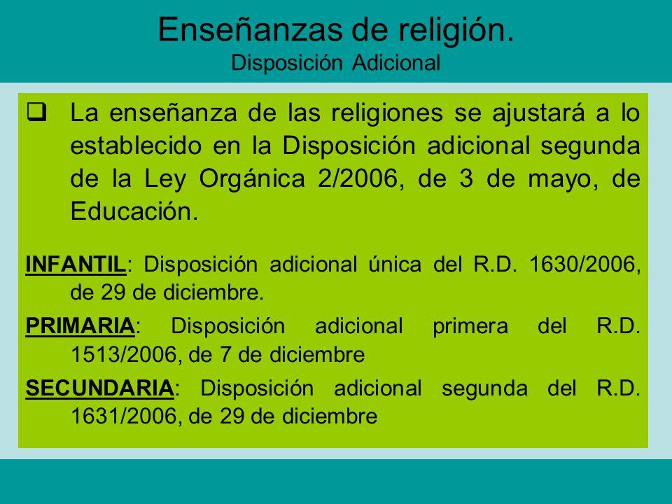 Enseñanzas de religión. Disposición Adicional La enseñanza de las religiones se ajustará a lo establecido en la Disposición adicional segunda de la Le