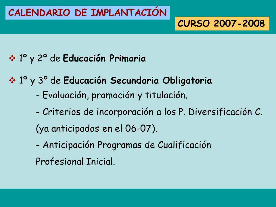 CALENDARIO DE IMPLANTACIÓN CURSO 2007-2008 1º y 2º de Educación Primaria 1º y 3º de Educación Secundaria Obligatoria - Evaluación, promoción y titulac