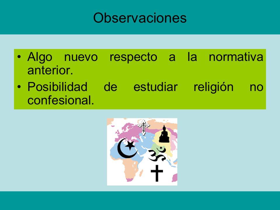 Observaciones Algo nuevo respecto a la normativa anterior. Posibilidad de estudiar religión no confesional.