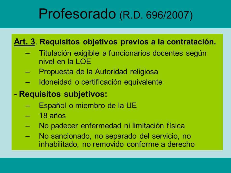 Profesorado (R.D. 696/2007) Art. 3. Requisitos objetivos previos a la contratación. –Titulación exigible a funcionarios docentes según nivel en la LOE