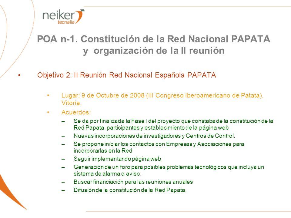 POA n-1. Constitución de la Red Nacional PAPATA y organización de la II reunión Objetivo 2: II Reunión Red Nacional Española PAPATA Lugar: 9 de Octubr