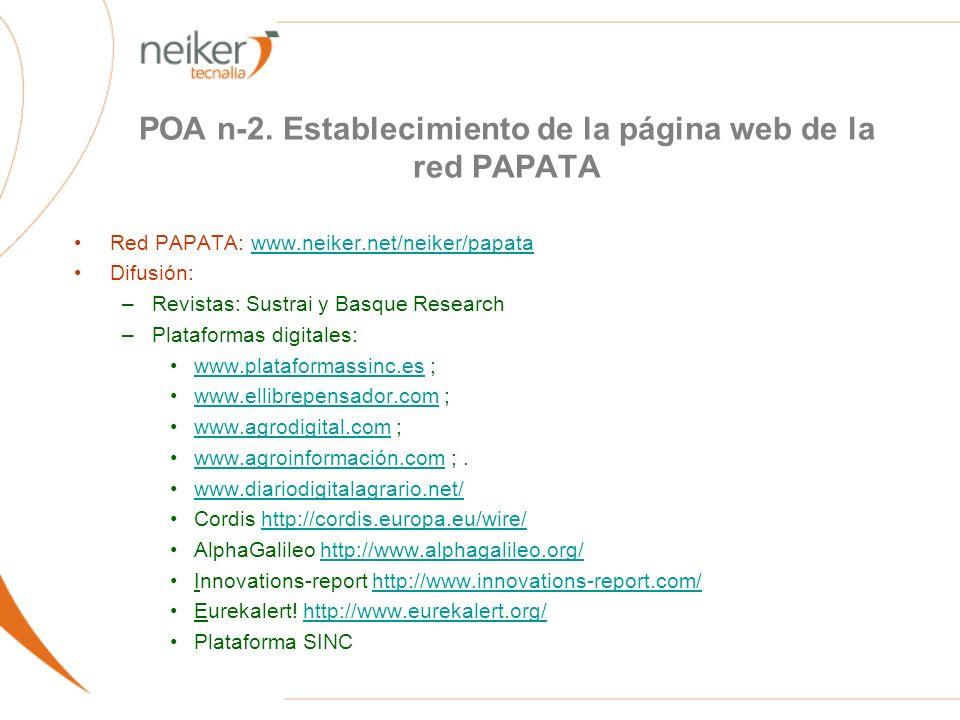 POA n-2. Establecimiento de la página web de la red PAPATA Red PAPATA: www.neiker.net/neiker/papatawww.neiker.net/neiker/papata Difusión: –Revistas: S
