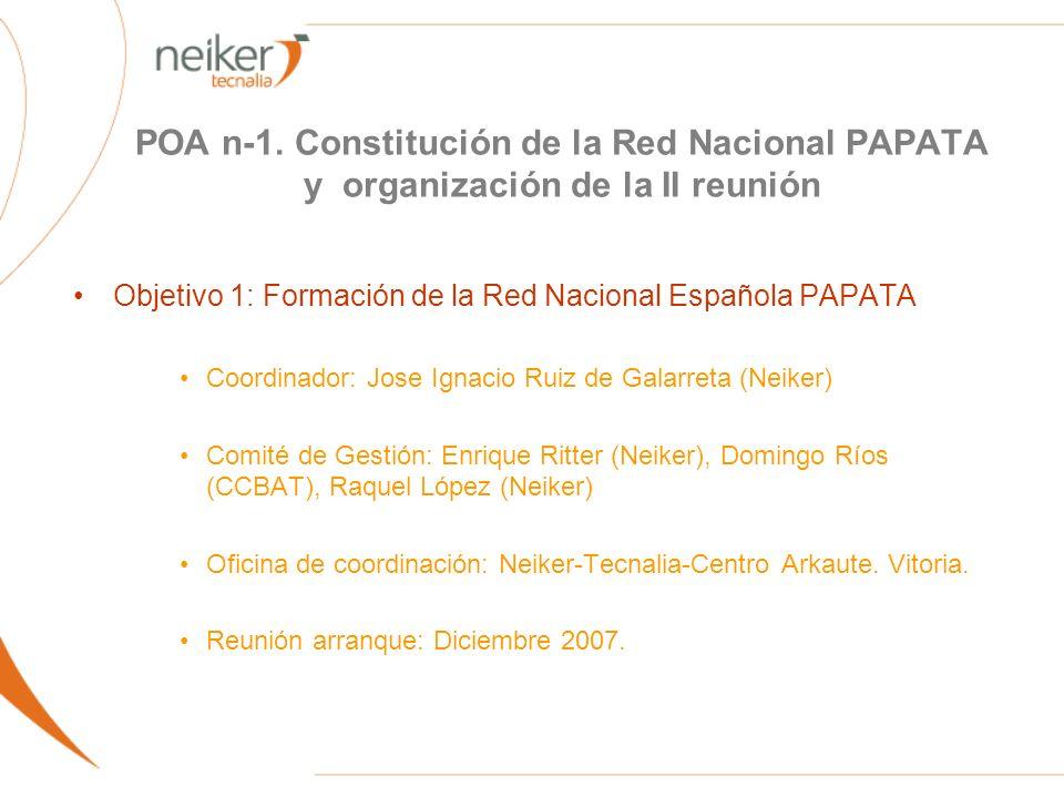 POA n-1. Constitución de la Red Nacional PAPATA y organización de la II reunión Objetivo 1: Formación de la Red Nacional Española PAPATA Coordinador: