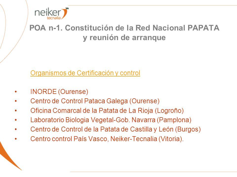 POA n-1. Constitución de la Red Nacional PAPATA y reunión de arranque Organismos de Certificación y control INORDE (Ourense) Centro de Control Pataca