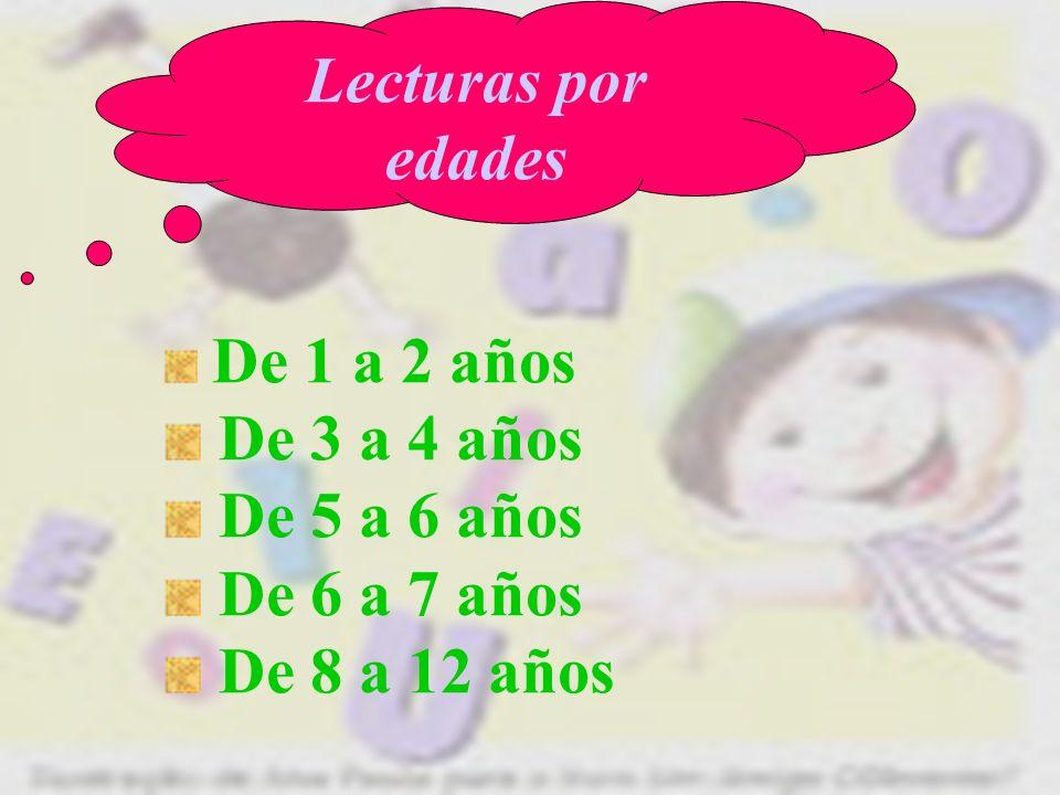 Lecturas por edades De 1 a 2 años De 3 a 4 años De 5 a 6 años De 6 a 7 años De 8 a 12 años