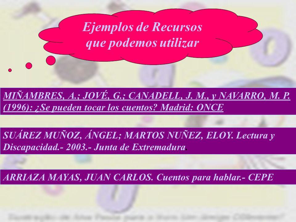 Ejemplos de Recursos que podemos utilizar MIÑAMBRES, A.; JOVÉ, G.; CANADELL, J. M., y NAVARRO, M. P. (1996): ¿Se pueden tocar los cuentos? Madrid: ONC