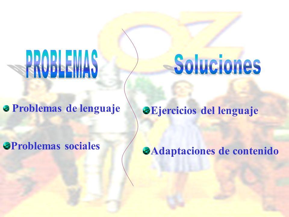 Problemas de lenguaje Problemas sociales Ejercicios del lenguaje Adaptaciones de contenido