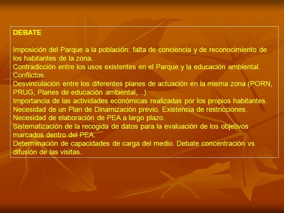 DEBATE Imposición del Parque a la población: falta de conciencia y de reconocimiento de los habitantes de la zona.