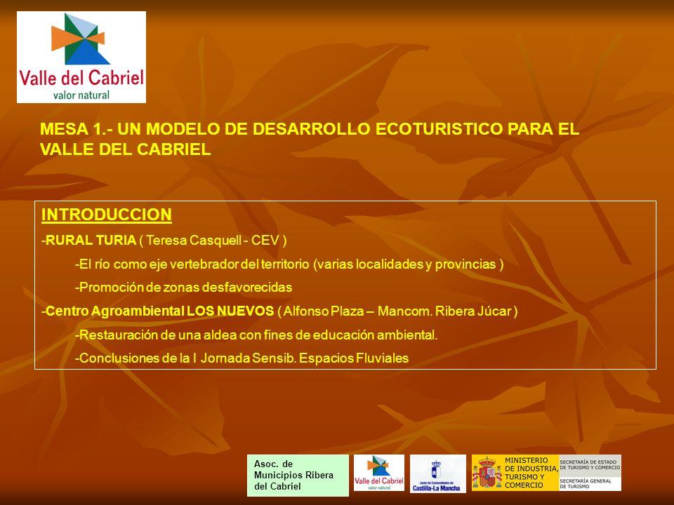 INTRODUCCION -RURAL TURIA ( Teresa Casquell - CEV ) -El río como eje vertebrador del territorio (varias localidades y provincias ) -Promoción de zonas desfavorecidas -Centro Agroambiental LOS NUEVOS ( Alfonso Plaza – Mancom.