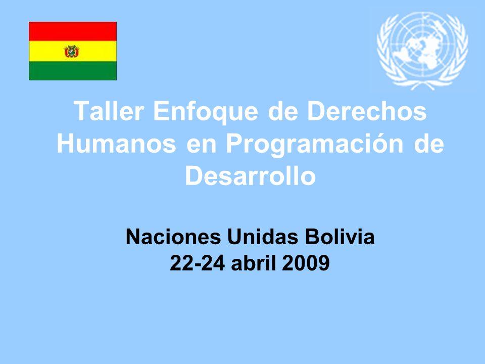 Taller Enfoque de Derechos Humanos en Programación de Desarrollo Naciones Unidas Bolivia 22-24 abril 2009