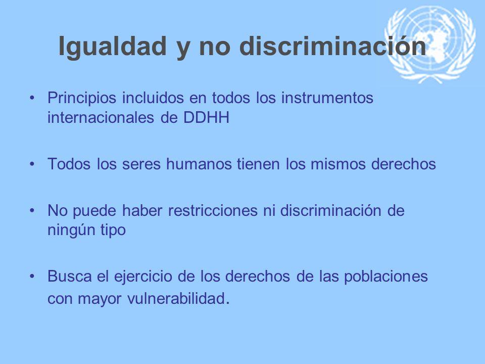 Igualdad y no discriminación Principios incluidos en todos los instrumentos internacionales de DDHH Todos los seres humanos tienen los mismos derechos