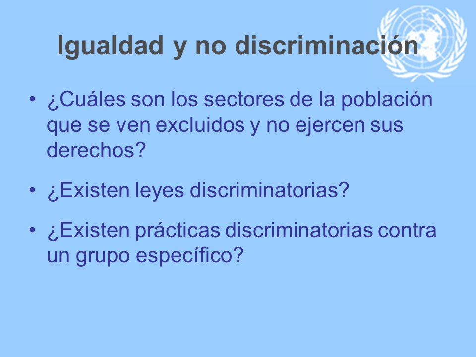 Igualdad y no discriminación ¿Cuáles son los sectores de la población que se ven excluidos y no ejercen sus derechos? ¿Existen leyes discriminatorias?