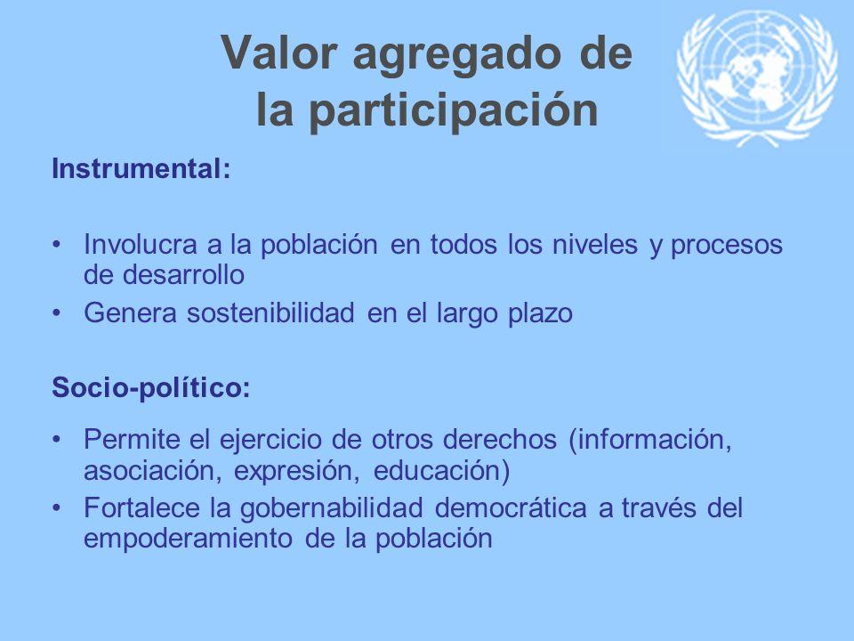 Valor agregado de la participación Instrumental: Involucra a la población en todos los niveles y procesos de desarrollo Genera sostenibilidad en el la