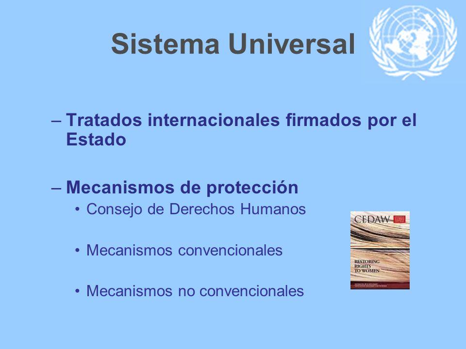 Sistema Universal –Tratados internacionales firmados por el Estado –Mecanismos de protección Consejo de Derechos Humanos Mecanismos convencionales Mec