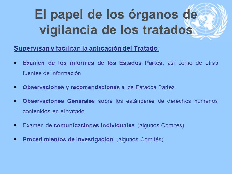 El papel de los órganos de vigilancia de los tratados Supervisan y facilitan la aplicación del Tratado: Examen de los informes de los Estados Partes,