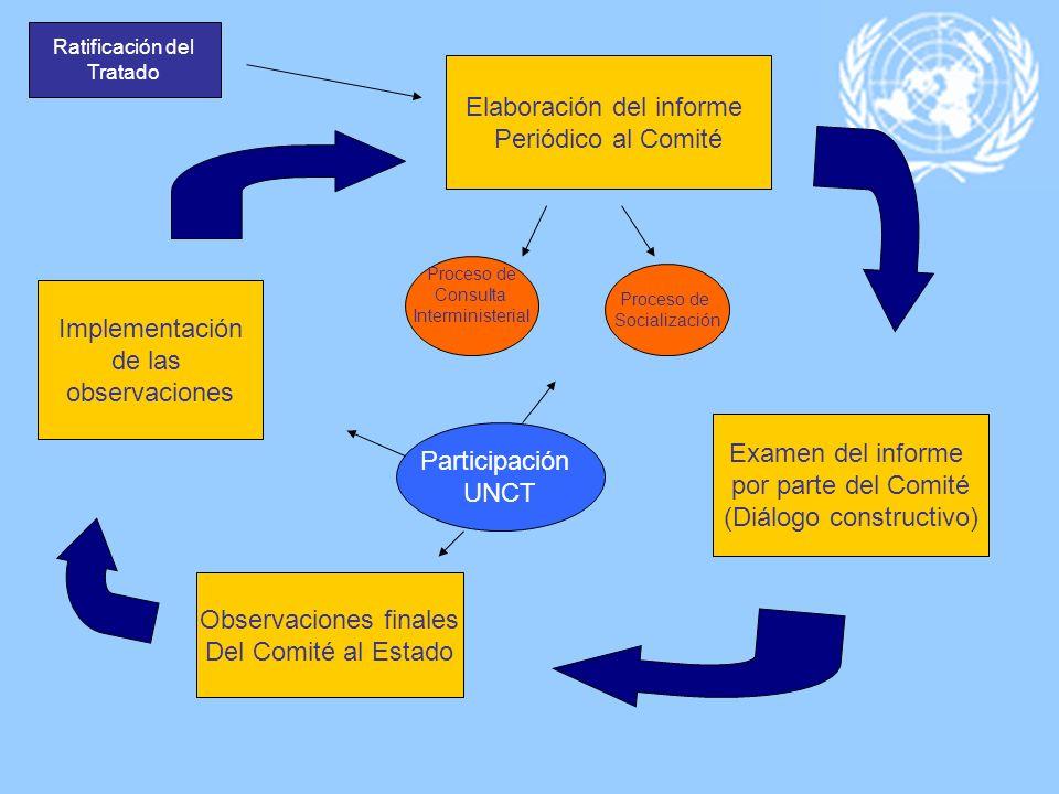 Ratificación del Tratado Elaboración del informe Periódico al Comité Proceso de Consulta Interministerial Proceso de Socialización Examen del informe