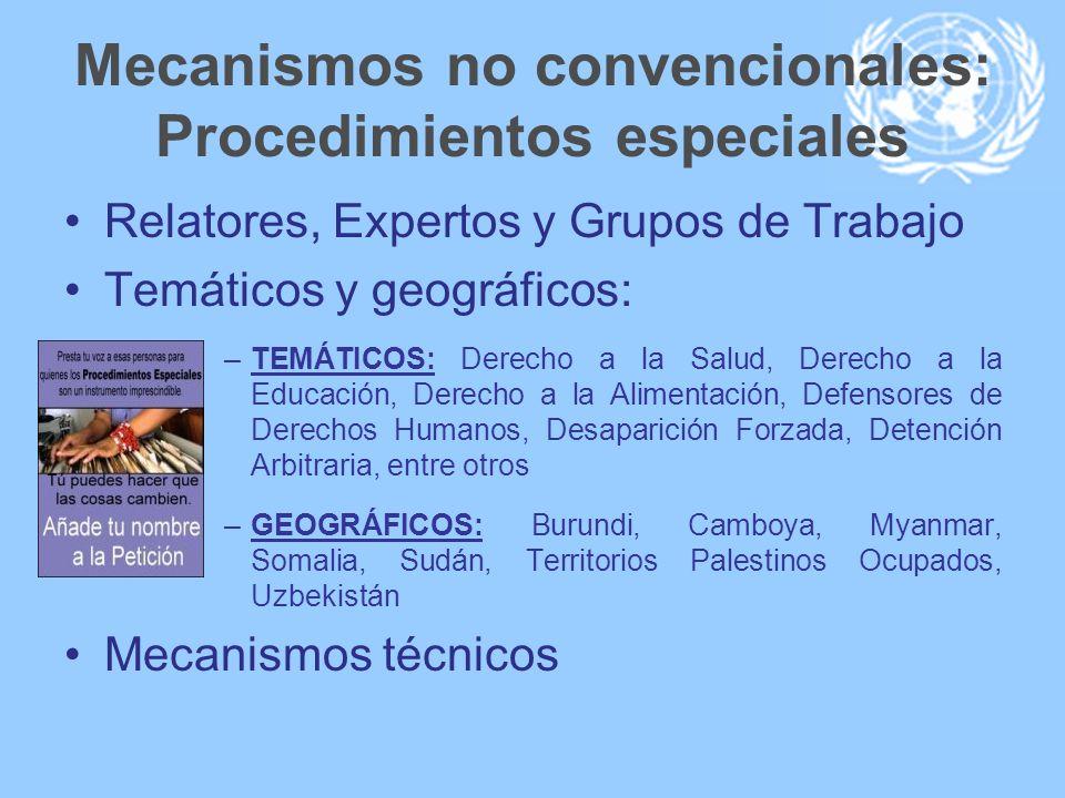 Mecanismos no convencionales: Procedimientos especiales Relatores, Expertos y Grupos de Trabajo Temáticos y geográficos: –TEMÁTICOS: Derecho a la Salu