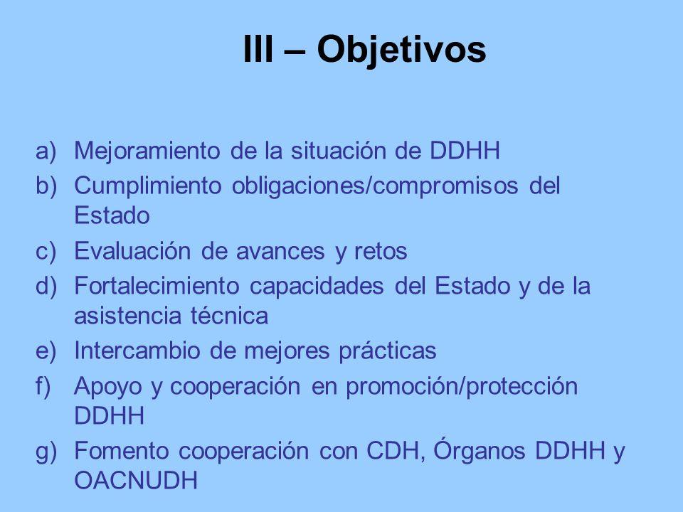 III – Objetivos a)Mejoramiento de la situación de DDHH b)Cumplimiento obligaciones/compromisos del Estado c)Evaluación de avances y retos d)Fortalecim