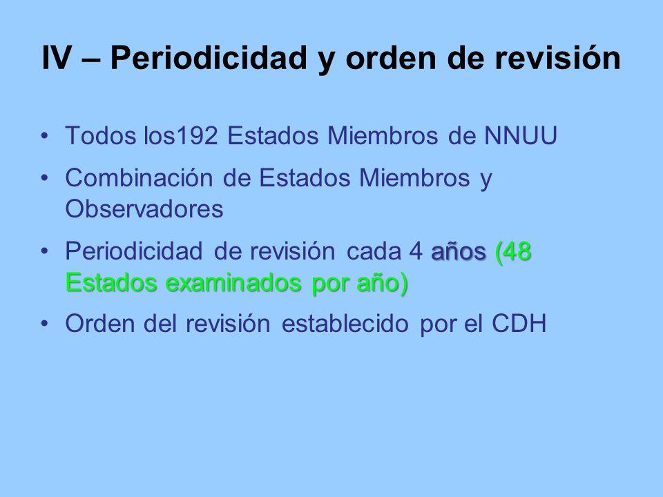 IV – Periodicidad y orden de revisión Todos los192 Estados Miembros de NNUU Combinación de Estados Miembros y Observadores años (48 Estados examinados