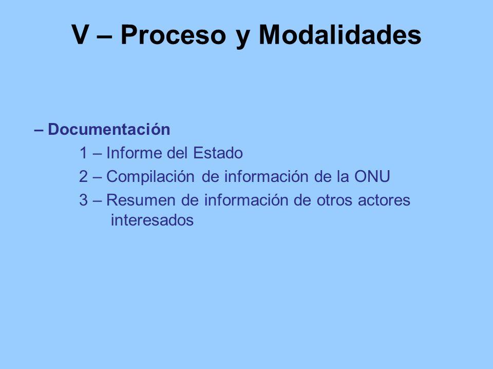 V – Proceso y Modalidades – Documentación 1 – Informe del Estado 2 – Compilación de información de la ONU 3 – Resumen de información de otros actores