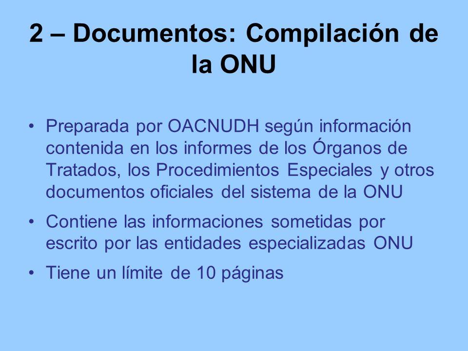 2 – Documentos: Compilación de la ONU Preparada por OACNUDH según información contenida en los informes de los Órganos de Tratados, los Procedimientos