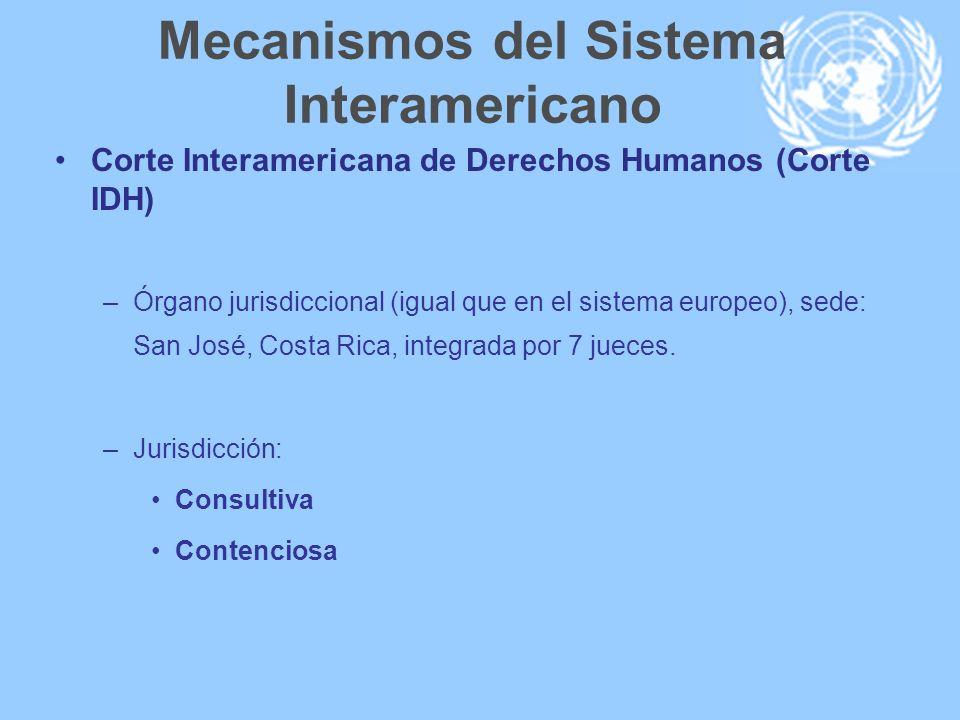 Mecanismos del Sistema Interamericano Corte Interamericana de Derechos Humanos (Corte IDH) –Órgano jurisdiccional (igual que en el sistema europeo), s