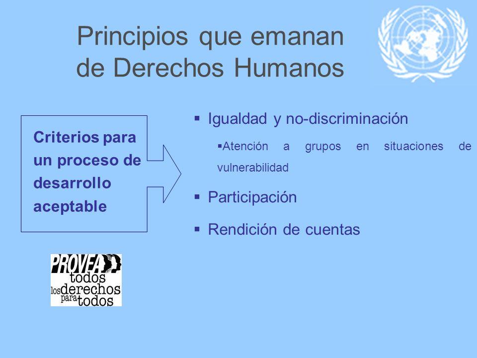 Principios que emanan de Derechos Humanos Criterios para un proceso de desarrollo aceptable Igualdad y no-discriminación Atención a grupos en situacio