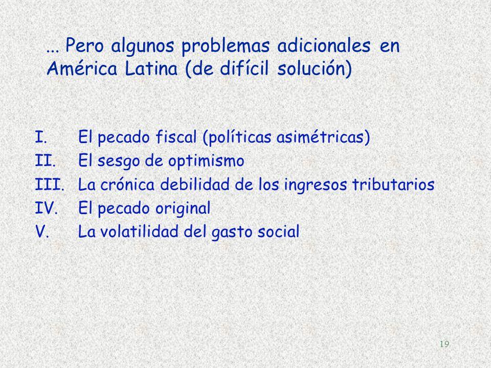 18 Dos principios para un pacto fiscal... §Estabilidad macroeconómica (niveles elevados de crecimiento y empleo)