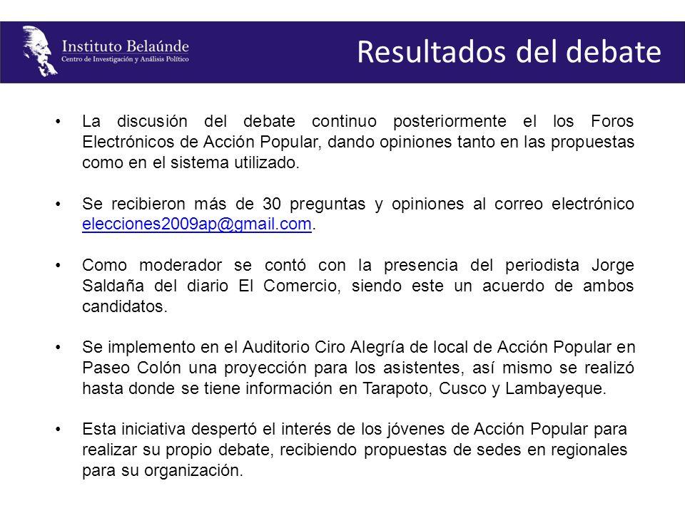 La discusión del debate continuo posteriormente el los Foros Electrónicos de Acción Popular, dando opiniones tanto en las propuestas como en el sistem