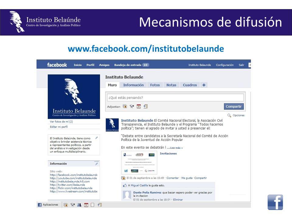 www.facebook.com/institutobelaunde Mecanismos de difusión