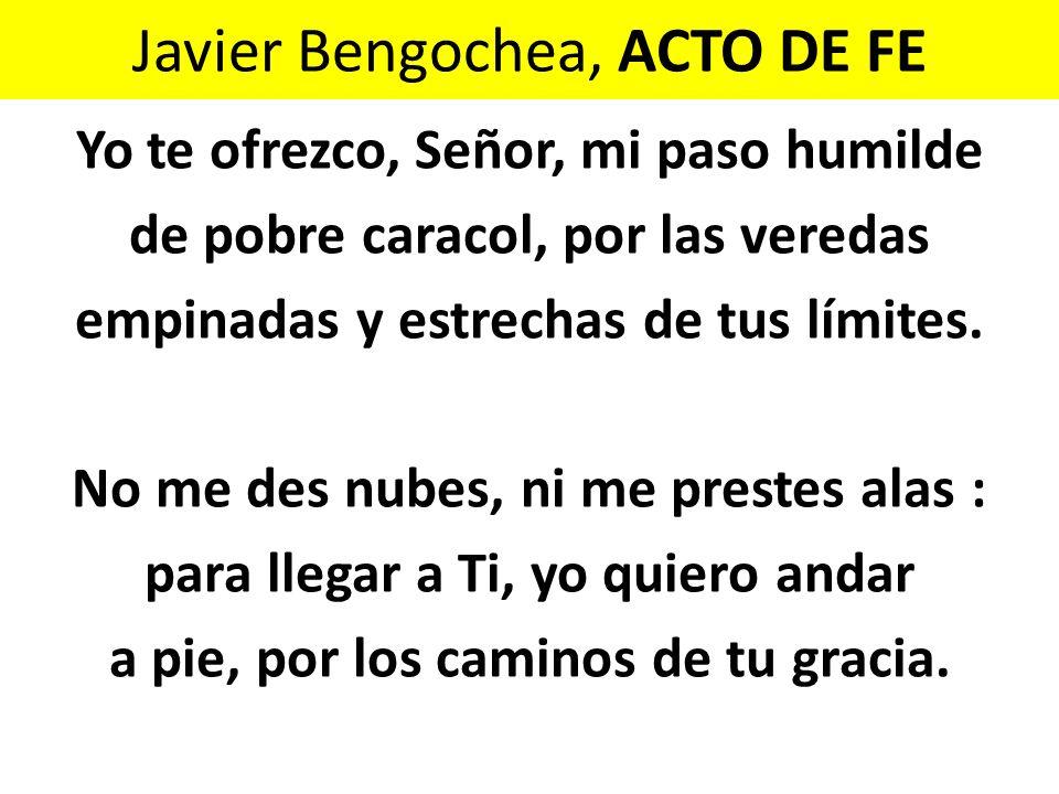 Javier Bengochea, ACTO DE FE Yo te ofrezco, Señor, mi paso humilde de pobre caracol, por las veredas empinadas y estrechas de tus límites. No me des n