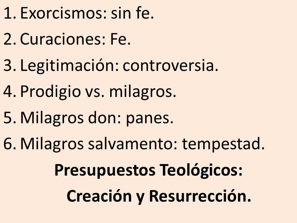 1.Exorcismos: sin fe. 2.Curaciones: Fe. 3.Legitimación: controversia. 4.Prodigio vs. milagros. 5.Milagros don: panes. 6.Milagros salvamento: tempestad