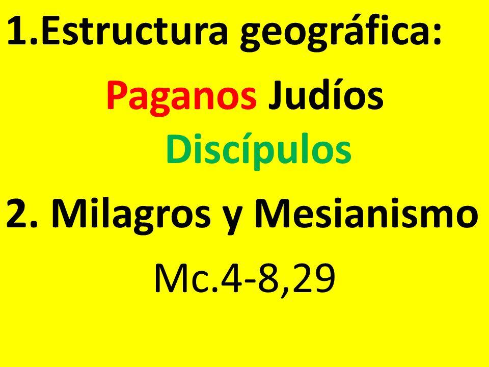 1.Estructura geográfica: Paganos Judíos Discípulos 2. Milagros y Mesianismo Mc.4-8,29