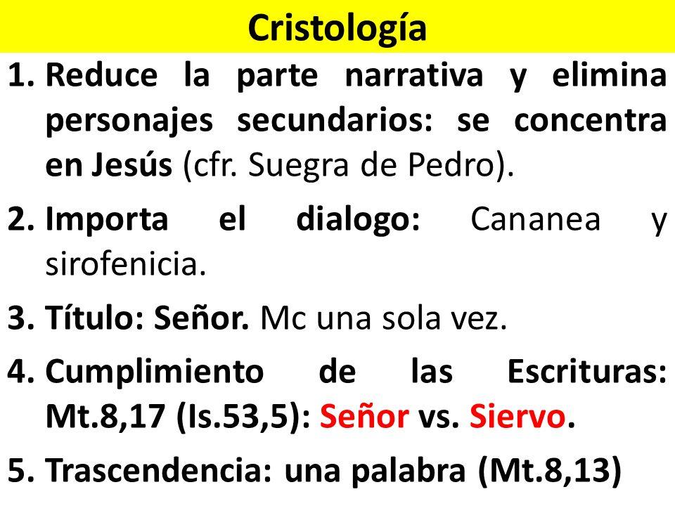 Cristología 1.Reduce la parte narrativa y elimina personajes secundarios: se concentra en Jesús (cfr.