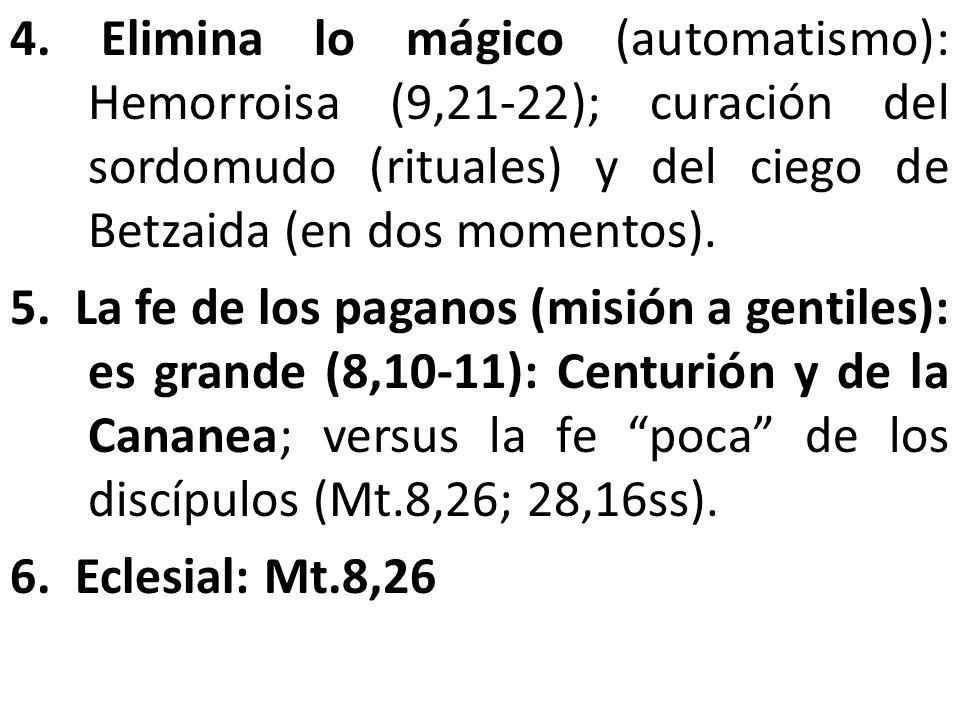 4. Elimina lo mágico (automatismo): Hemorroisa (9,21-22); curación del sordomudo (rituales) y del ciego de Betzaida (en dos momentos). 5. La fe de los