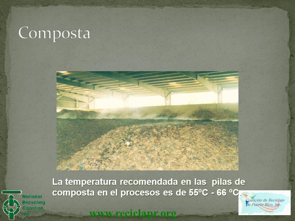 www.reciclapr.org La temperatura recomendada en las pilas de composta en el procesos es de 55ºC - 66 ºC.