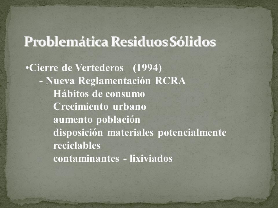 Cierre de Vertederos (1994) - Nueva Reglamentación RCRA Hábitos de consumo Crecimiento urbano aumento población disposición materiales potencialmente