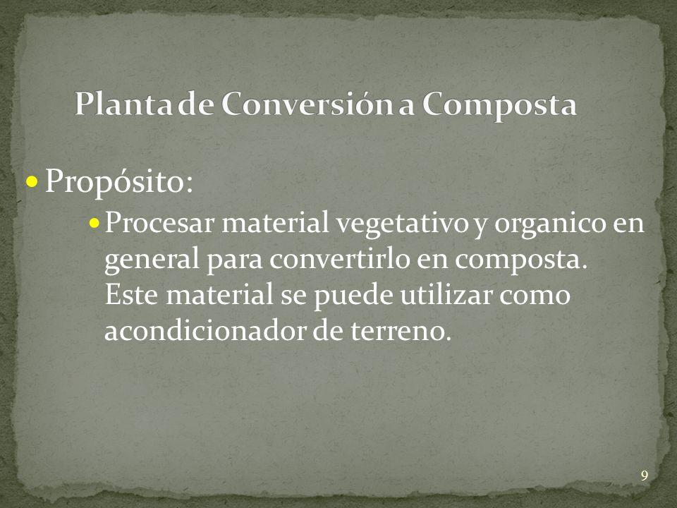 Propósito: Procesar material vegetativo y organico en general para convertirlo en composta. Este material se puede utilizar como acondicionador de ter