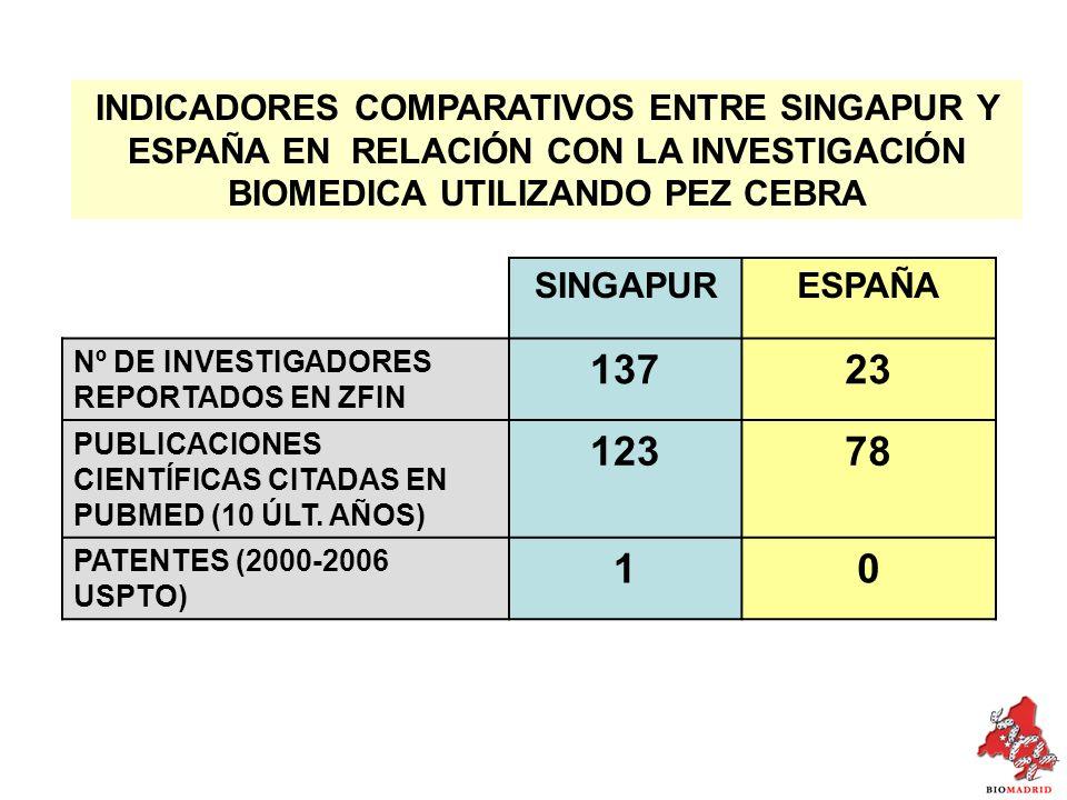 INDICADORES COMPARATIVOS ENTRE SINGAPUR Y ESPAÑA EN RELACIÓN CON LA INVESTIGACIÓN BIOMEDICA UTILIZANDO PEZ CEBRA SINGAPURESPAÑA Nº DE INVESTIGADORES REPORTADOS EN ZFIN 13723 PUBLICACIONES CIENTÍFICAS CITADAS EN PUBMED (10 ÚLT.